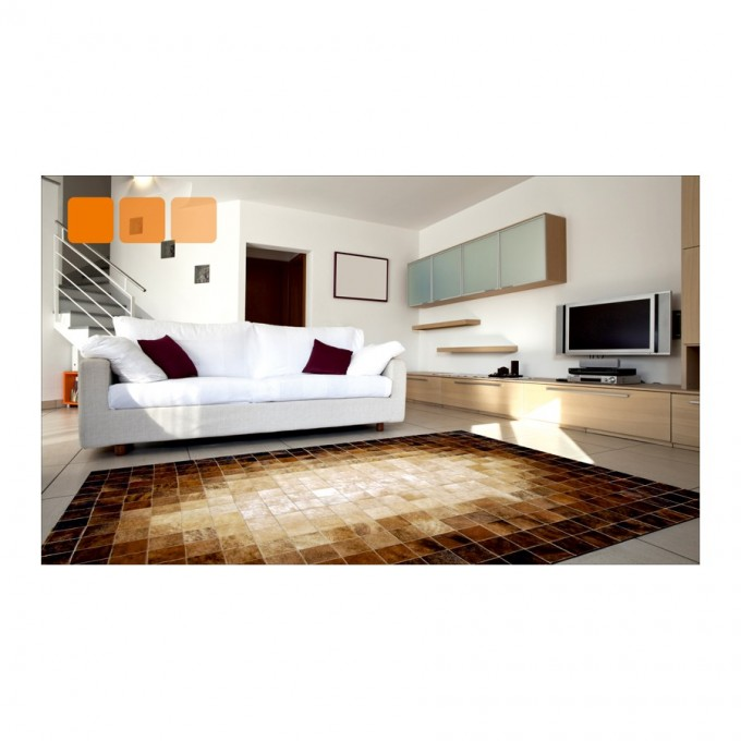 Wonderful Cowhide Patchwork Rug In Brown And White Mixed Brindle For Floor Decor Ideas