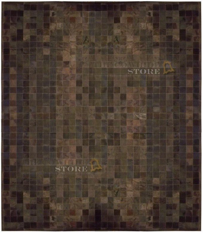 Wonderful Cowhide Patchwork Rug In Dark Brown With Mixed Brindle For Floor Decor Ideas
