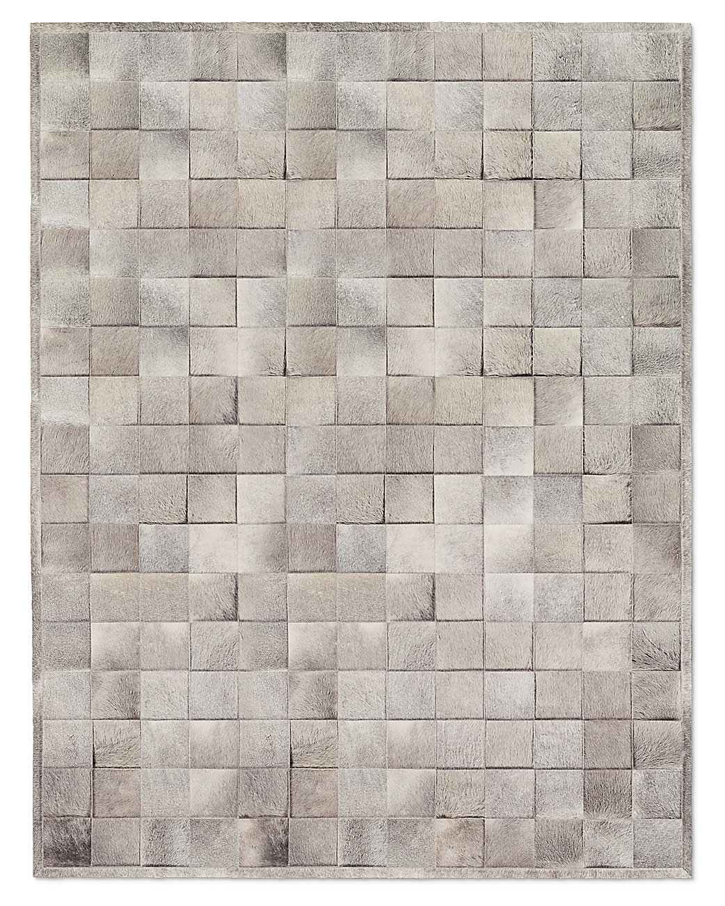 wonderful cowhide patchwork rug in grey with checked motif for floor decor ideas