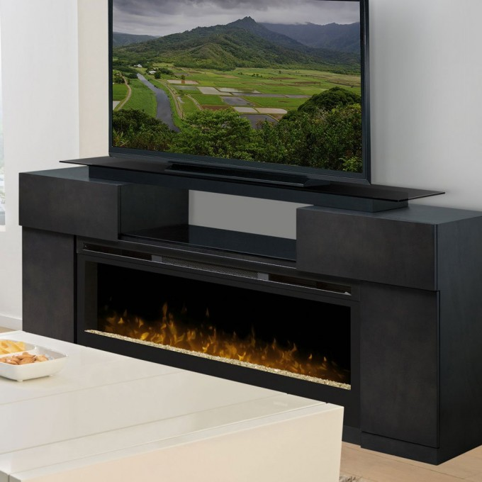 Wonderful Dimplex Electric Fireplaces With Decorative Mantel Kit With Tv Stand Before The White Wall For Family Room Decor Ideas