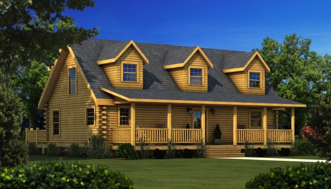 Wonderful Exterior Design Of Southland Log Homes With Glass Window And Chic Yard With Green Grass Ideas