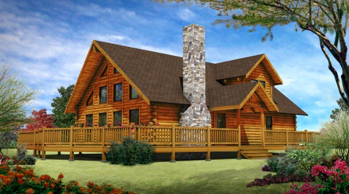 Wonderful Exterior Design Of Southland Log Homes With Outdoor Chimney And Glass Windows Ideas