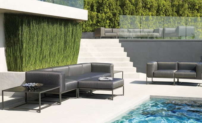 Wonderful Gray Sofa Set With Metal Stand By Janus Et Cie Outdoor Furniture On White Paver Near The Swimming Pool For Patio Decor Ideas