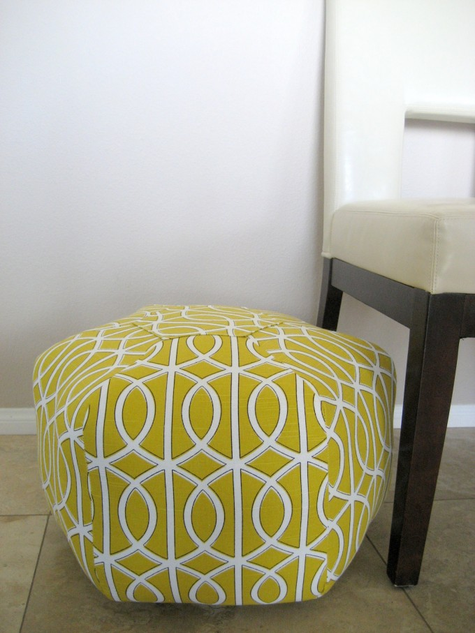 Wonderful Hexagon Pouf Ottoman In Green For Home Furniture Ideas