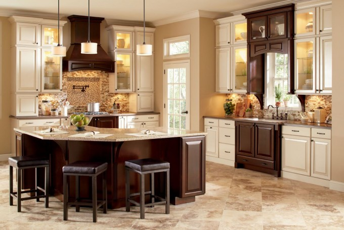 Wonderful Kitchen American Woodmark Cabinets In Espresso With Granite Countertop And Kitchen Island With Wooden Bar Stool For Kitchen Decor Ideas