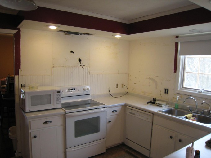 Wonderful Kitchen American Woodmark Cabinets In White With Granite Countertop And White Stove Plus Sink And Faucet For Kitchen Decor Ideas