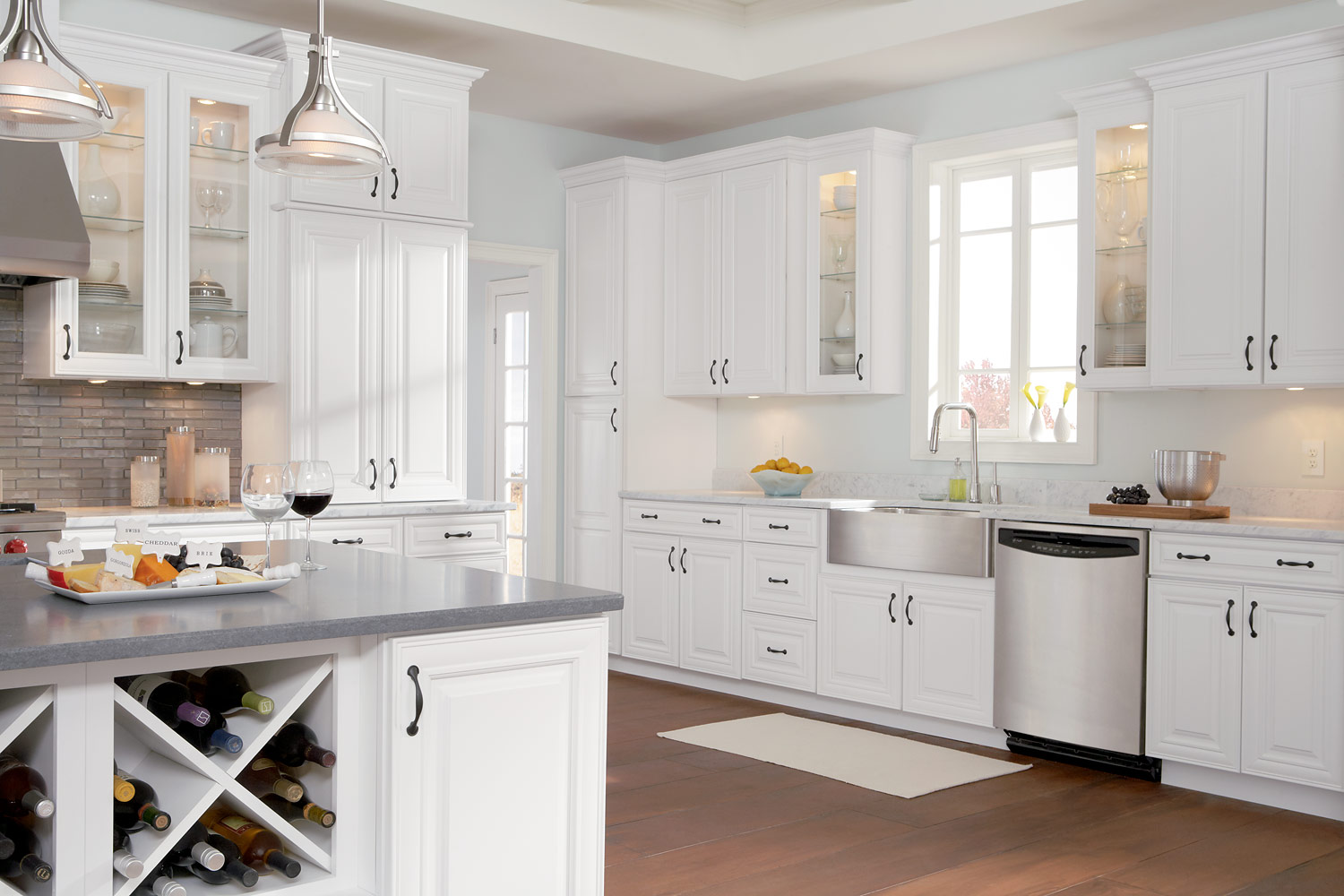 wonderful kitchen american woodmark cabinets in white with white handle and countertop plus sink and kitchen faucet for kitchen decor ideas