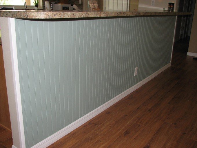 Wonderful Kitchen Island Stand Using Wall Doctor Beadboard Wallpaper Matched With Wooden Floor For Kitchen Decor Ideas