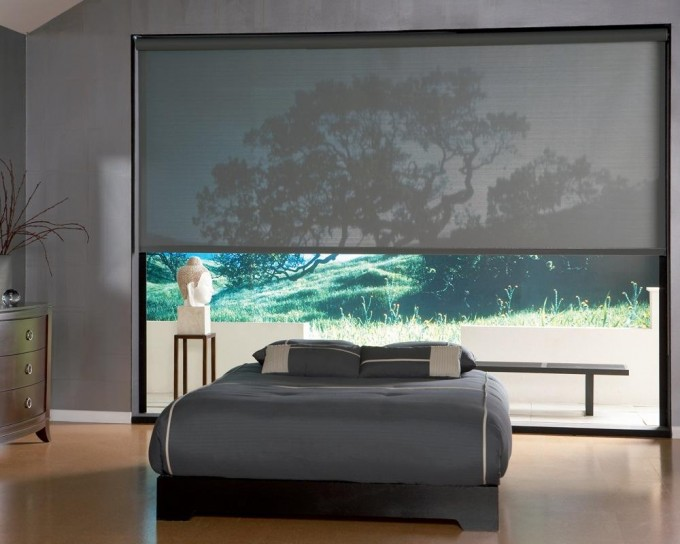 Wonderful Large Glass Window With Gray Levolor Cellular Shades On Gray Wall Matched With Wooden Floor Plus Bed Set For Bedroom Design Inspiration