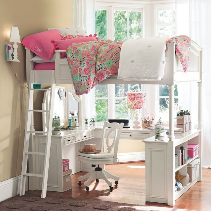 Wonderful Loft Beds For Teenagers In White With Desk And Drawers On Wooden Floor With Tan Rug For Girl Bedroom Decor Ideas