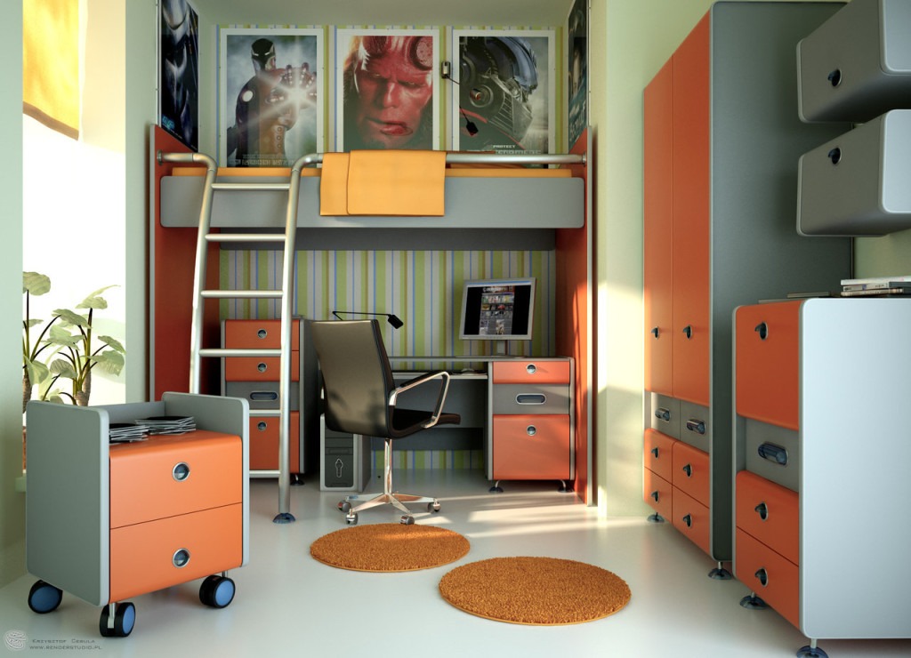 wonderful loft beds for teenagers with desk and wardrobe for cool teens bedroom design in gray and orange nuance ideas