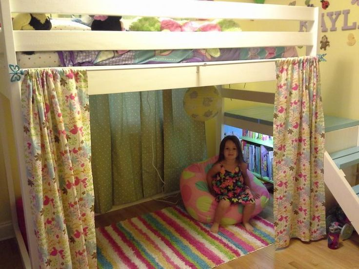 wonderful loft beds for teenagers with stair and book shelves plus curtain plus colorful stripped rug on wooden floor for teens bedroom decor ideas