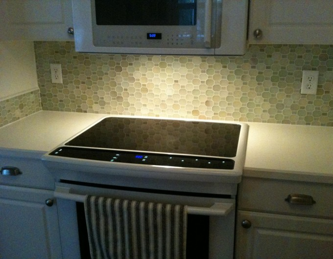 Wonderful Mosaic Backspash By Walker Zanger Matched With White Countertop For Kitchen Decor Ideas