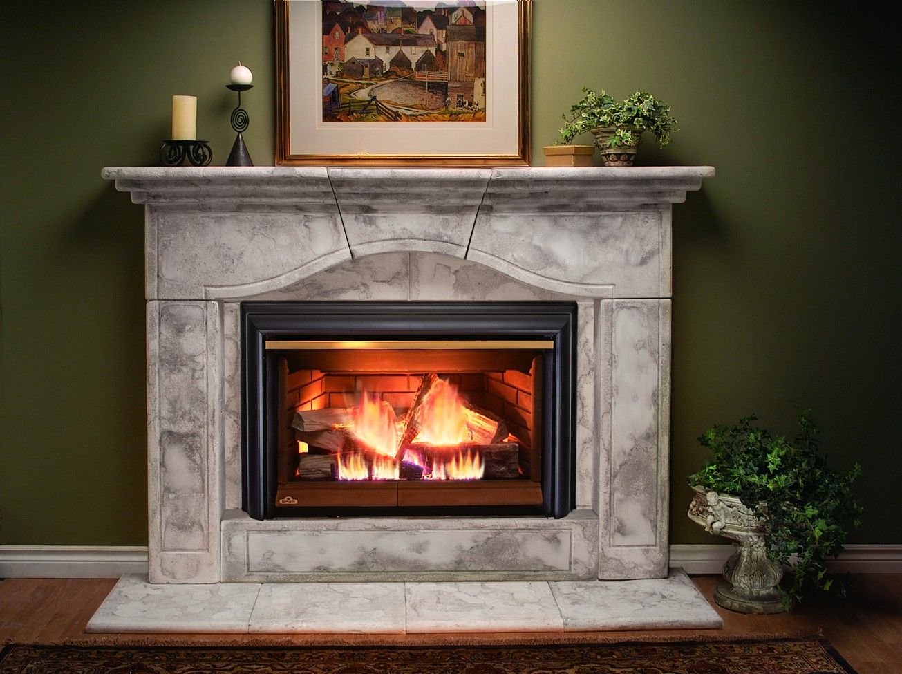 wonderful napoleon fireplace with granite mantel kit matched with green wall with picture for heatwarming room decor ideas