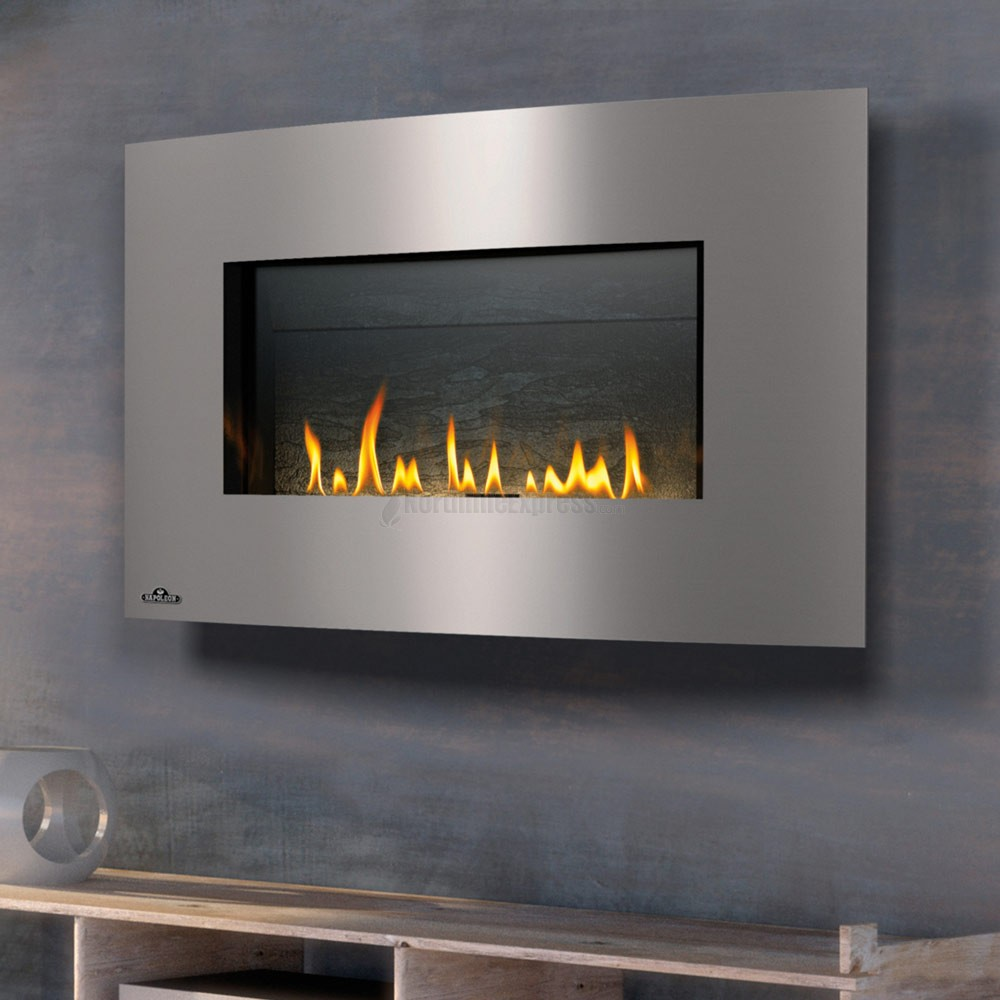 wonderful napoleon fireplace with silver frame on gray wall for heatwarming room decor ideas