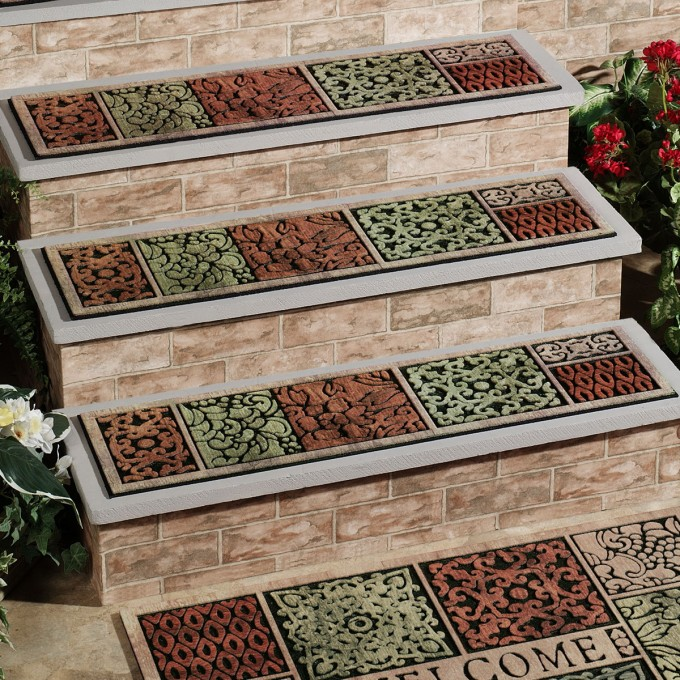 Wonderful Non Slip Stair Treads In Floral Pattern For Stair Care Step Ideas