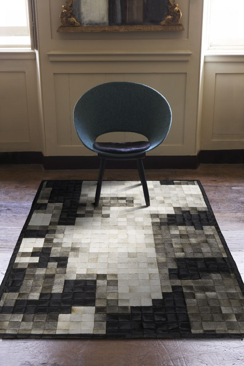 wonderful rectangle cowhide patchwork rug mixed blending black and white in checked motif for floor decor ideas