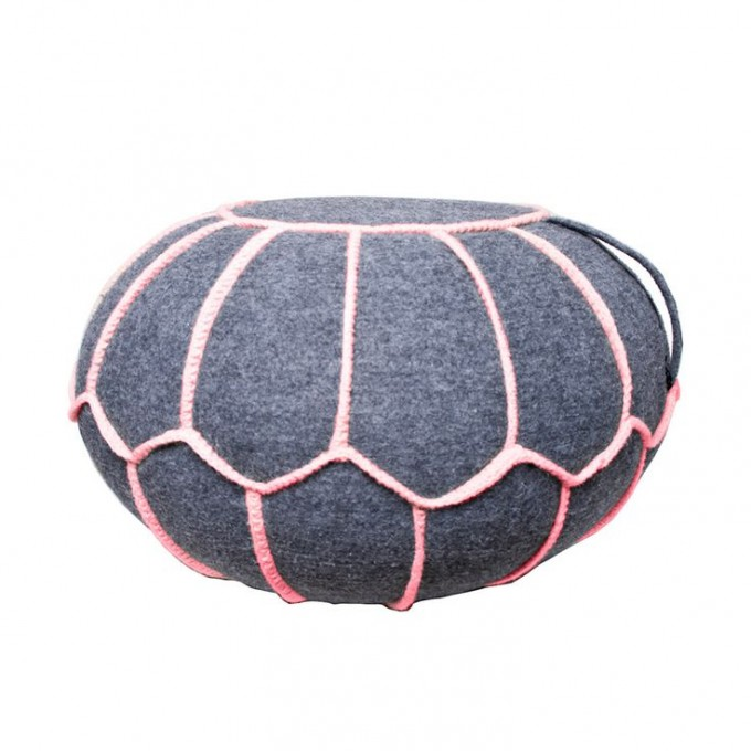 Wonderful Round Pouf Ottoman In Gray With Pink Lined Design For Home Furniture Ideas