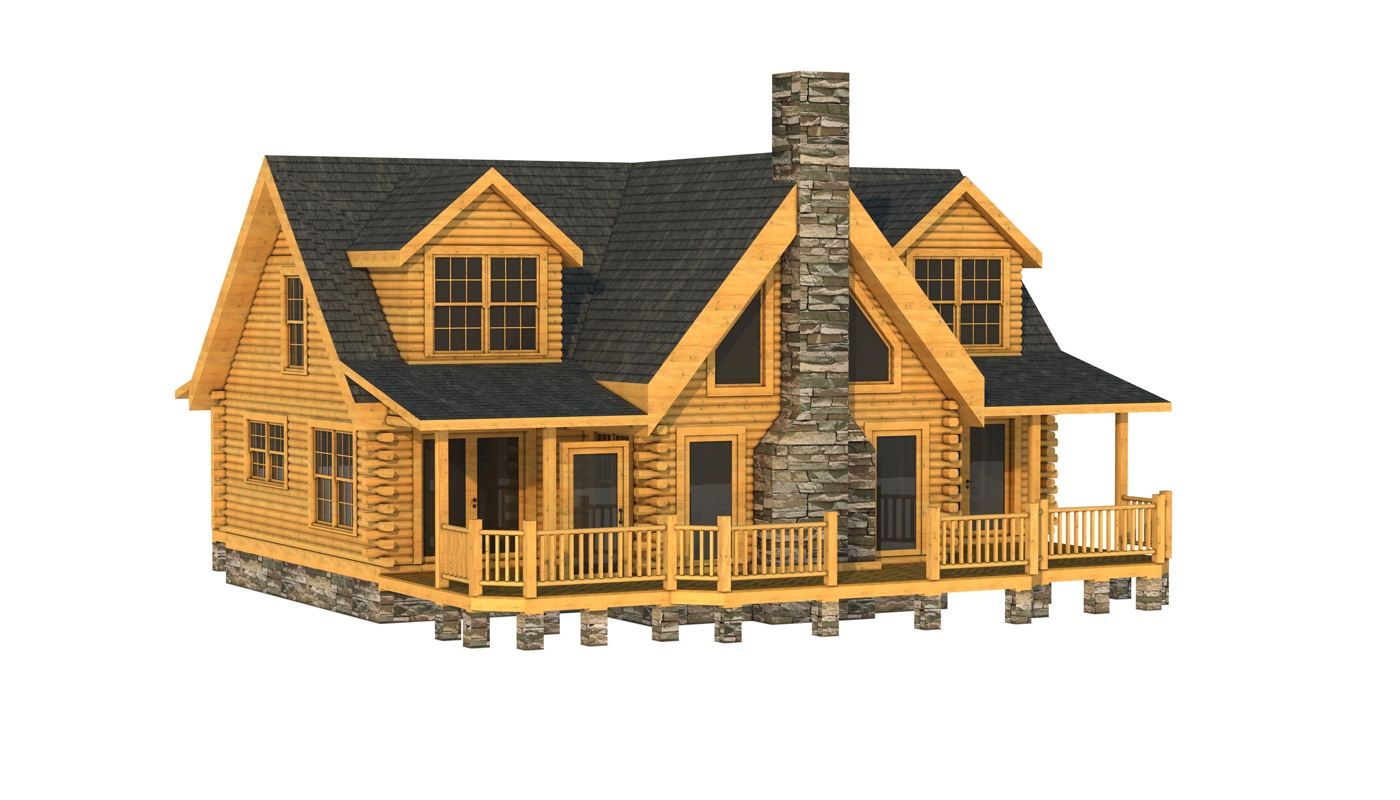 wonderful Southland Log Homes in double tier design with outdoor chimney and glass window and door plus railing for home design ideas
