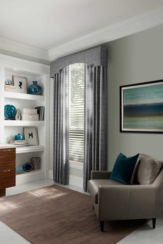 Wonderful Sunburst Shutters On Olive Wall With Curtain Matched With White Tile Floor With Tan Rug Plus Leather Sofa And White Rack For Home Interior Design Ideas