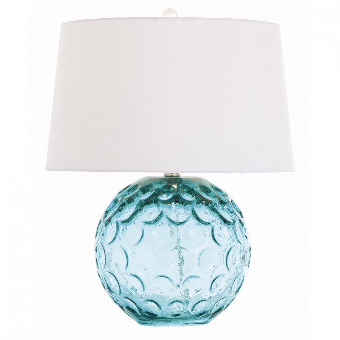 Wonderful Table Lamp With White Shade And Green Glass Body By Arteriors Lighting For Home Decor Ideas