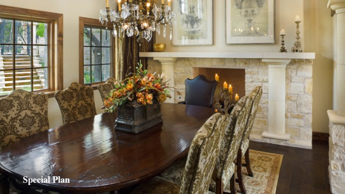 Wonderful Tilson Homes Dining Room Design With Wooden Dining Table And Chair Set In Six On Floral Rug Plus Fireplace Ideas