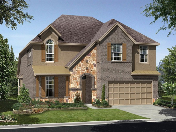 Wonderful Tilson Homes Exterior Design With Tan Garage Door And Single Hung Windows Plus Gray Roof Ideas