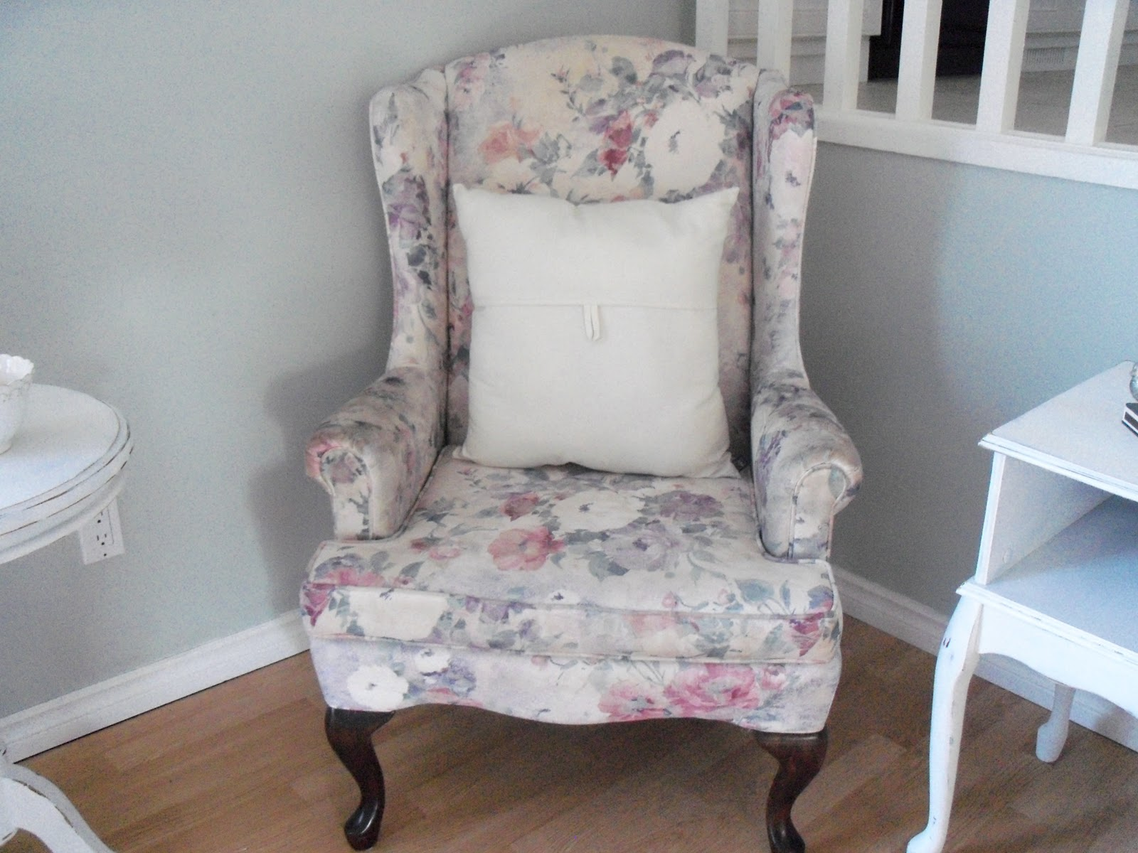 Wonderful Wingback Chair Slipcover In Charming Floral Pattern For Single  Armback Chair Ideas