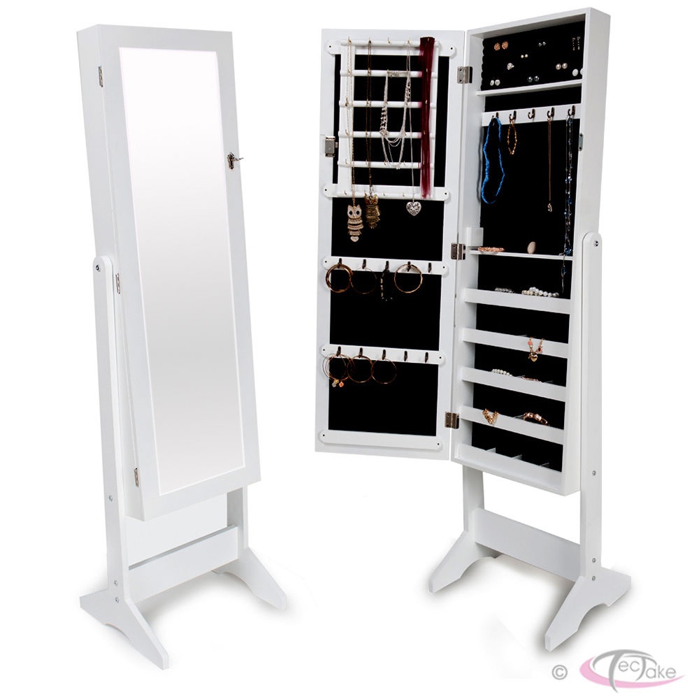 Wonderful Woeden Standing Mirror Jewelry Armoire In White For Home Furniture Ideas