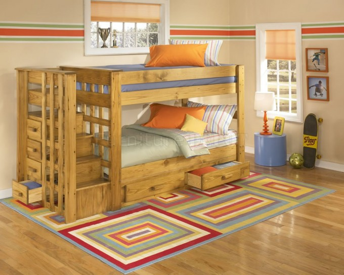 Wonderful Wood Bunk Beds With Stairs With Storage On Wooden Floor Matched With Cream Wall Plus Checked Rug For Teen Bedroom Decor Ideas