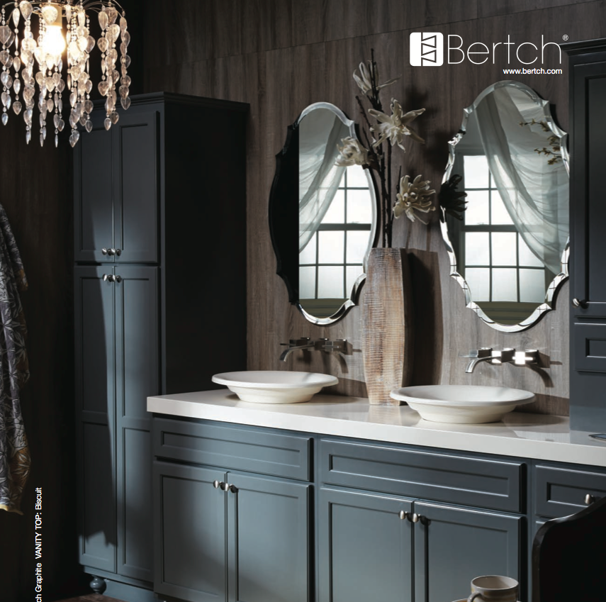Wonderful Wooden Bathroom Bertch Cabinets In Gray With White Countertop And Double Sinks And Faucets Before The Wood Wall With Decorative Mirrors For Bathroom Decor Ideas