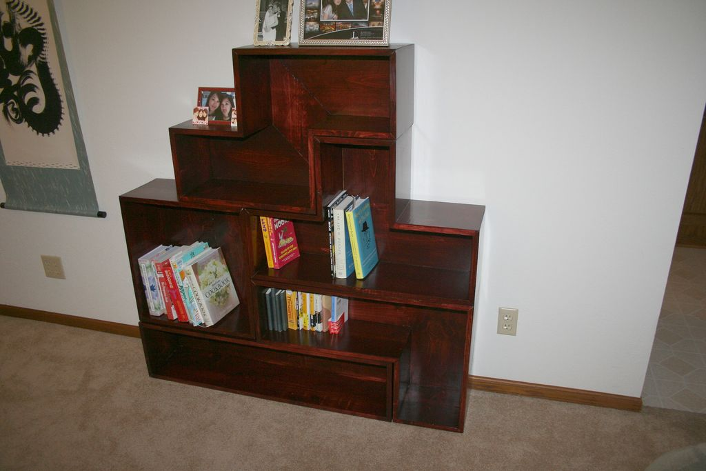 wonderful wooden book rack using brown minwax gel stain before the white wall for living room decor ideas