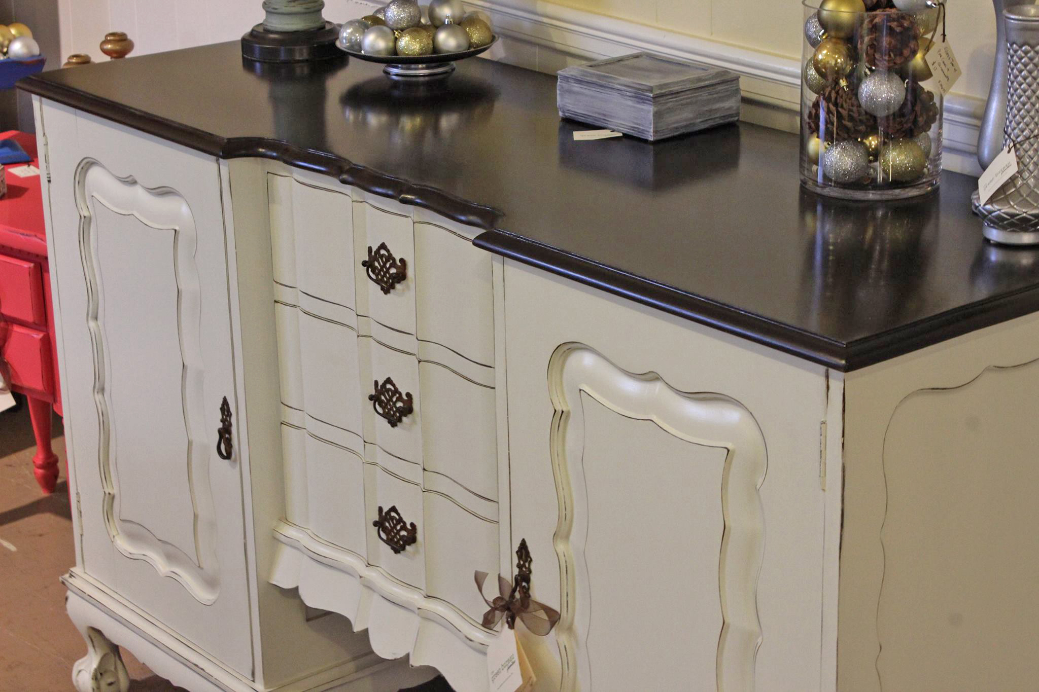 wonderful wooden dresser using general finishes java gel stain in white with black top for home furniture ideas