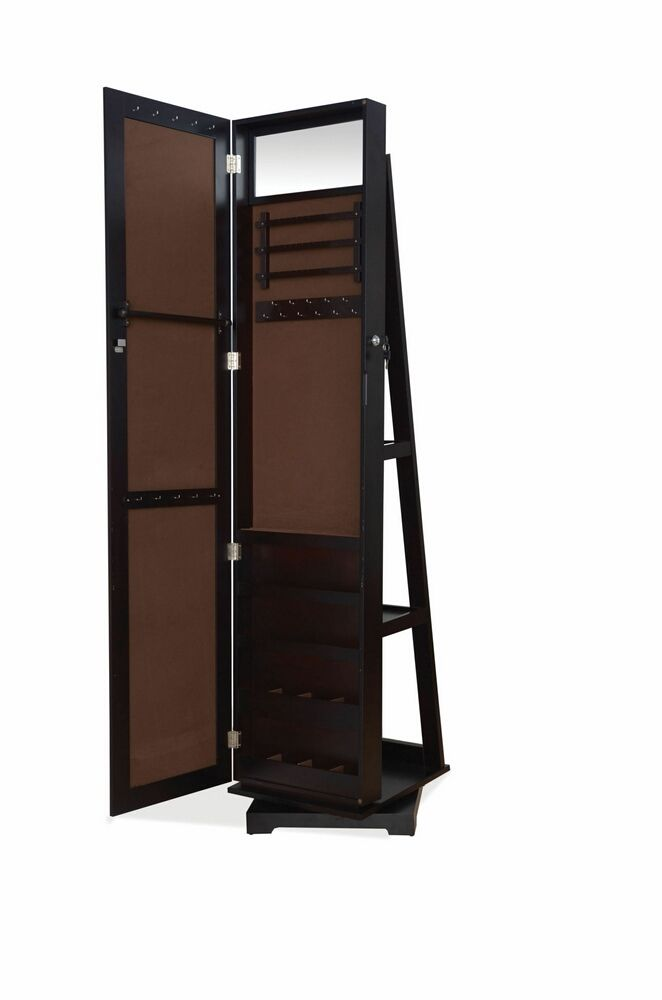 wonderful wooden standing mirror jewelry armoire in black for home furniture ideas