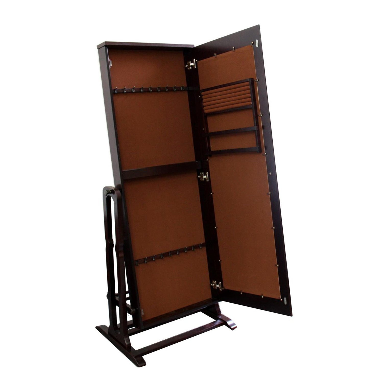 wonderful wooden standing mirror jewelry armoire in dark brown for home decor ideas