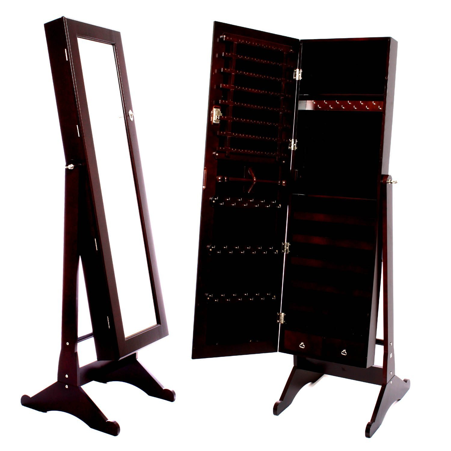 wonderful wooden standing mirror jewelry armoire in dark brown for home furniture ideas
