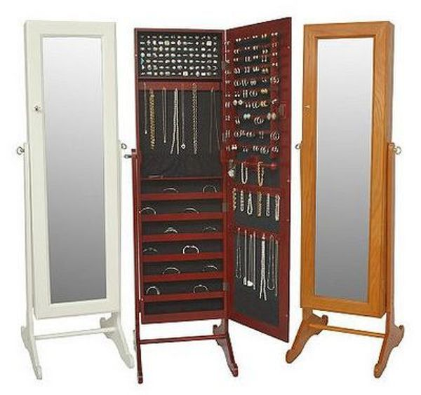 Wonderful Wooden Standing Mirror Jewelry Armoire With Three Option Colors  For Home Furniture Ideas