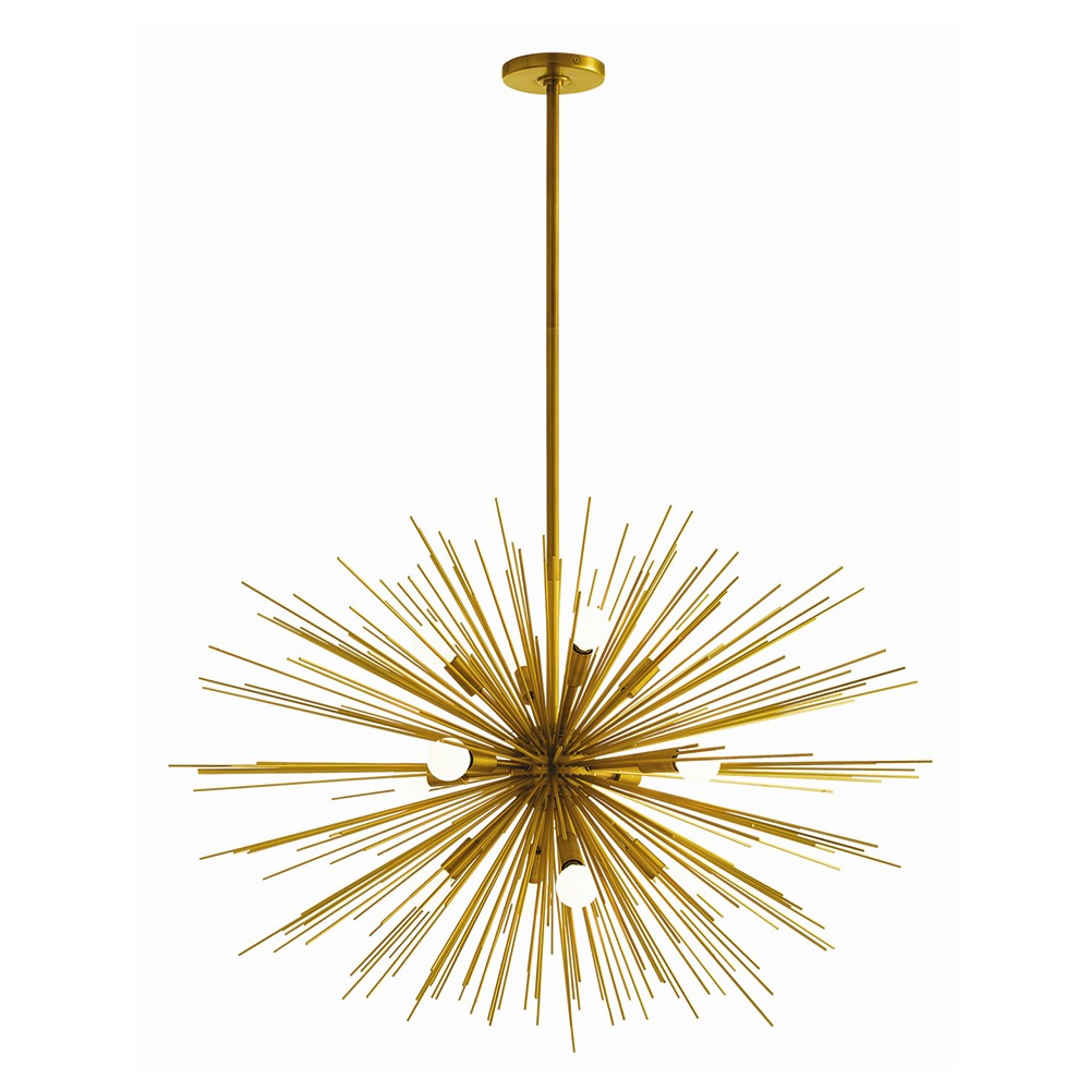 wonderful Zanadoo Large Chandelier in golden color and sunburst design by Arteriors Lighting for home lighting ideas