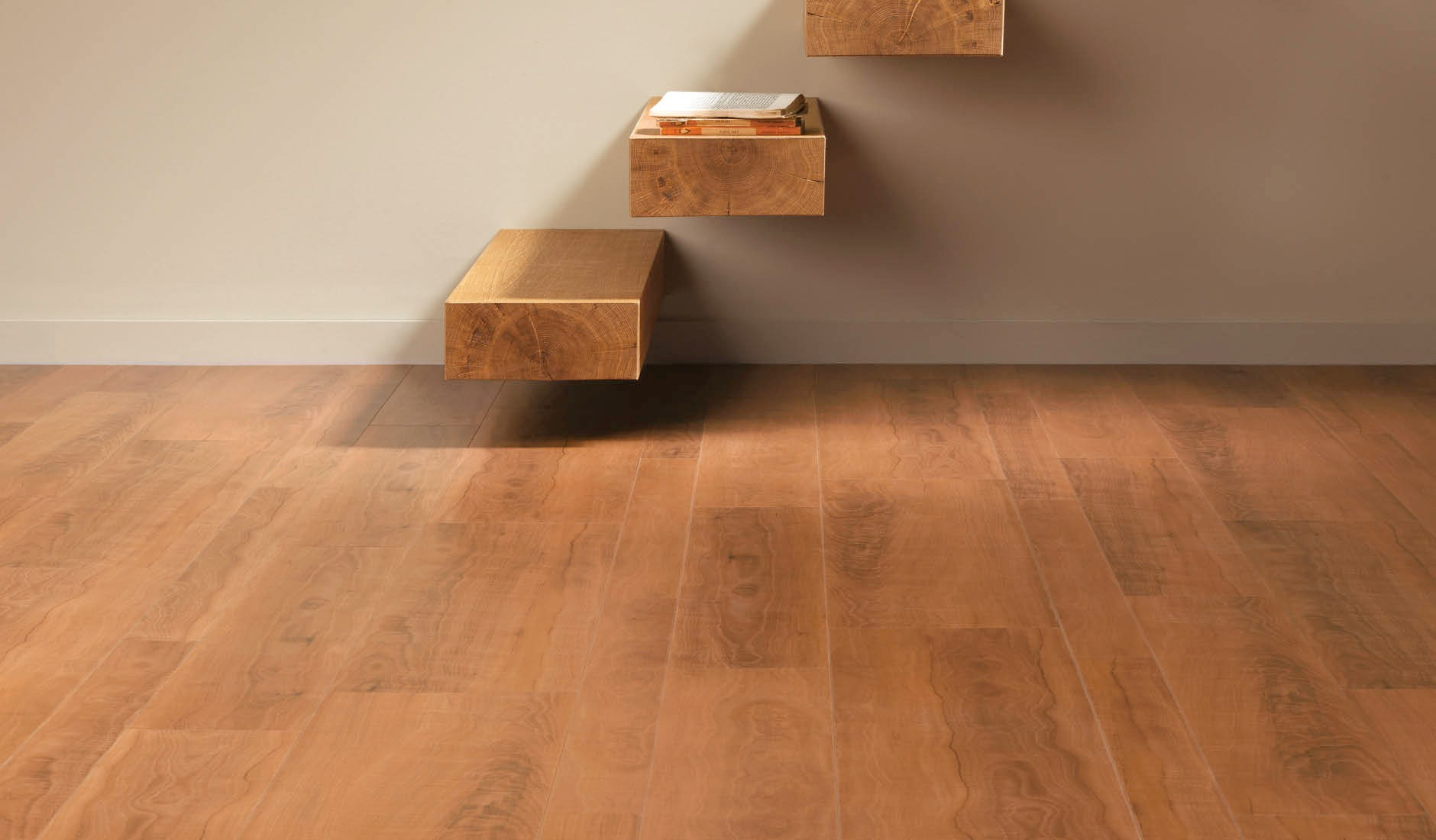 Wooden Floor By Konecto Matched With White Wall And Wooden Stair Step Without Railing For Home Interior Design Ideas