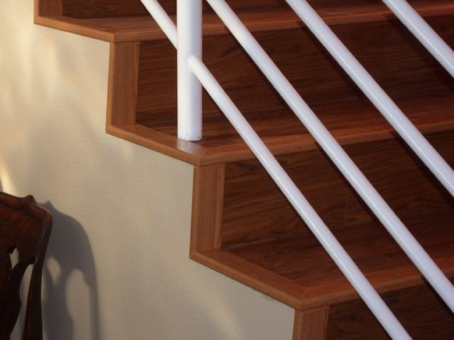 wooden stair step by konecto matched with white metal railing stair for home interior design ideas