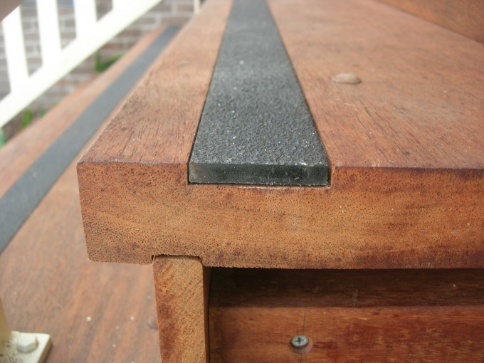 Wooden Stair Using Black Lined Non Slip Stair Treads For Stair Ideas