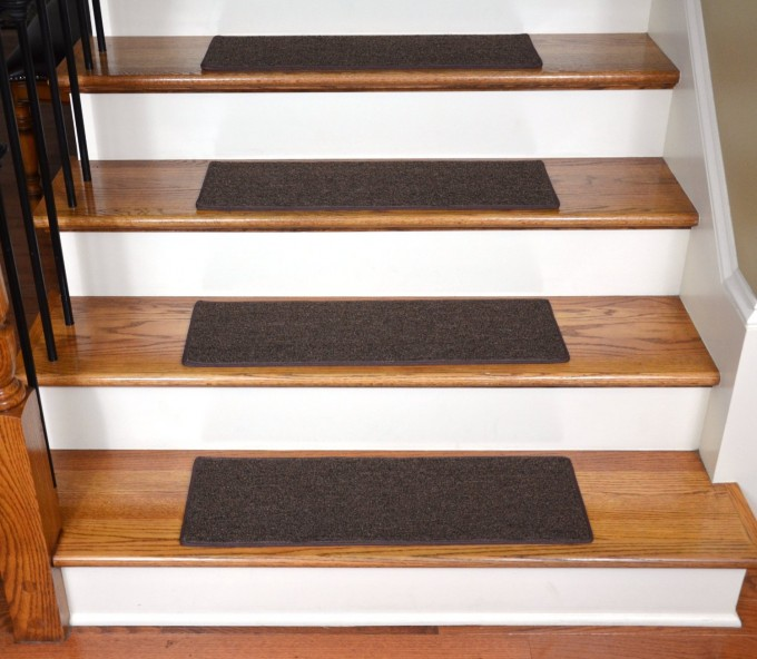 Wooden Stair With Black Non Slip Stair Treads Matched With Black Metal Stair Railing For Home Decor Ideas