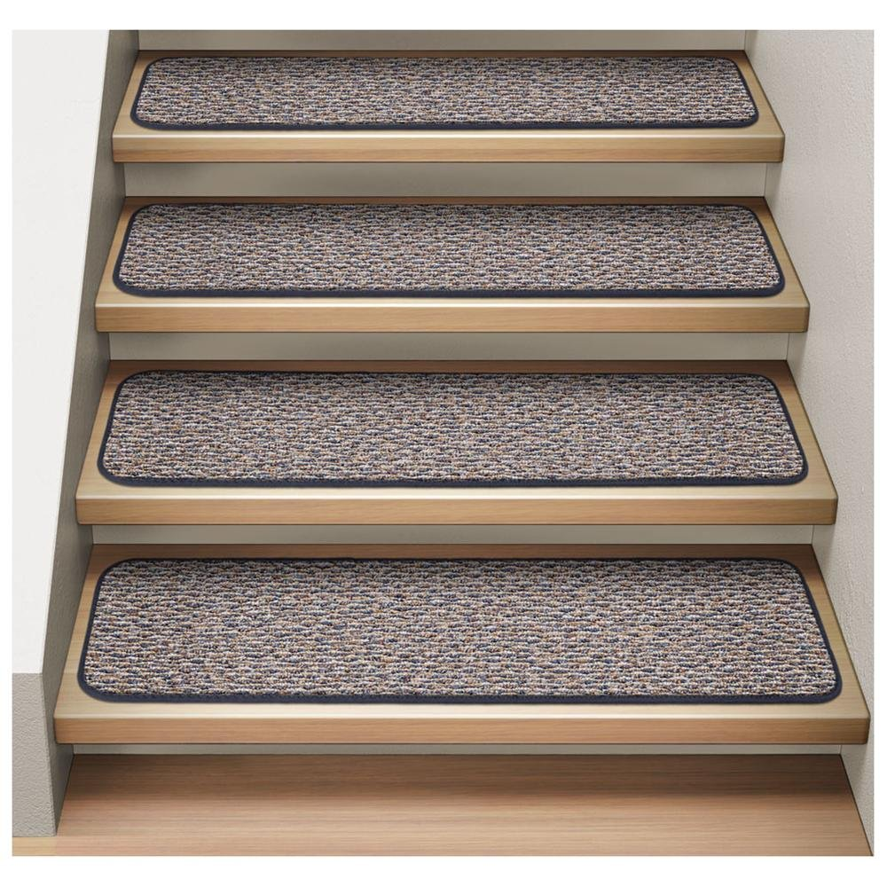 Wooden Stepping Stair Using Non Slip Stair Treads Rug In Gray Matched With White Wall For Home Decor Ideas