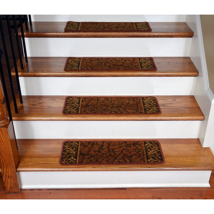 Wooden Stepping Stair With Floral Brown Non Slip Stair Treads Matched With Black Metal Railing And Tan Wall For Home Design Ideas