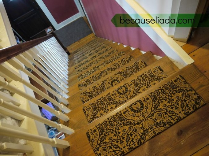 Wooden Stepping Stair With Floral Non Slip Stair Treads Matched With White Wooden Railing And Brown Handrailing For Home Stair Ideas