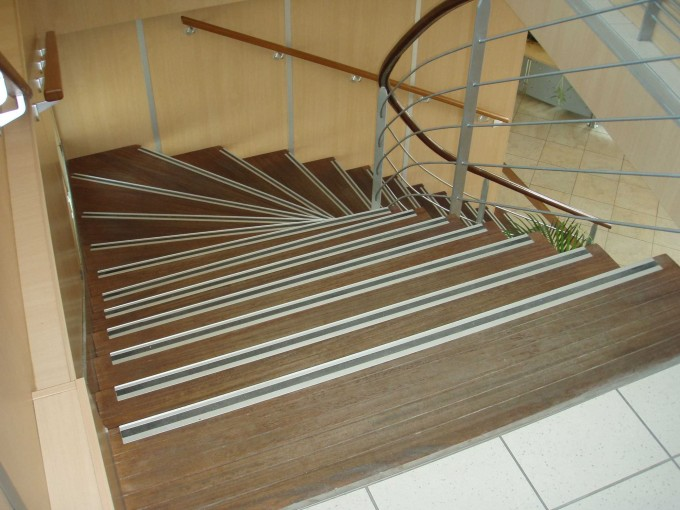 Wooden Stepping Stair With Lined Non Slip Stair Treads Matched With Metal Railing Ideas