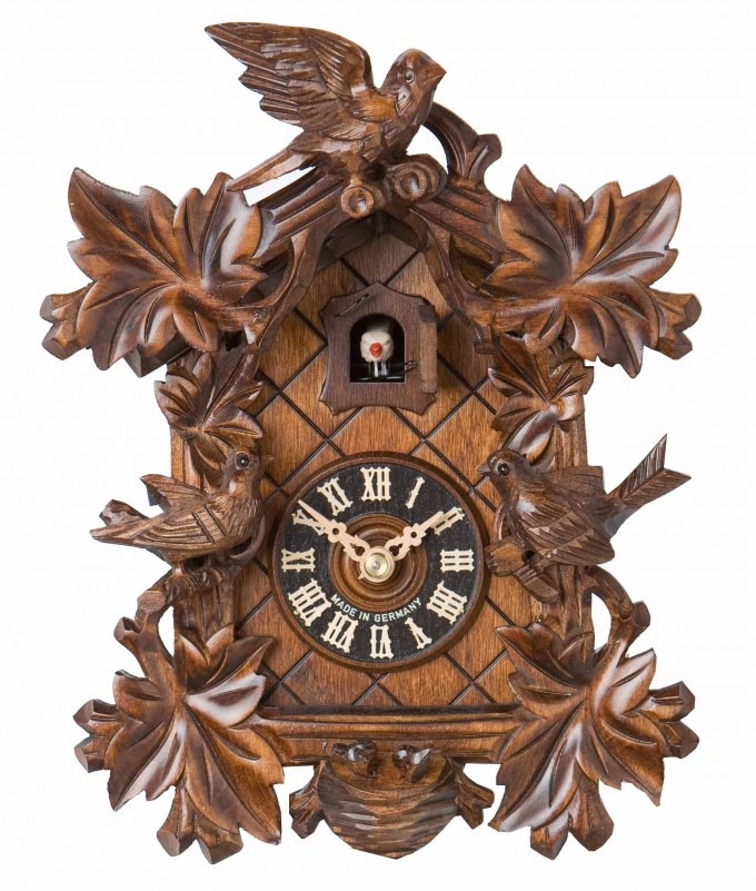15inch Carved Birds And Leaves Cuckoo Clock In Brown For Home Accessories Ideas