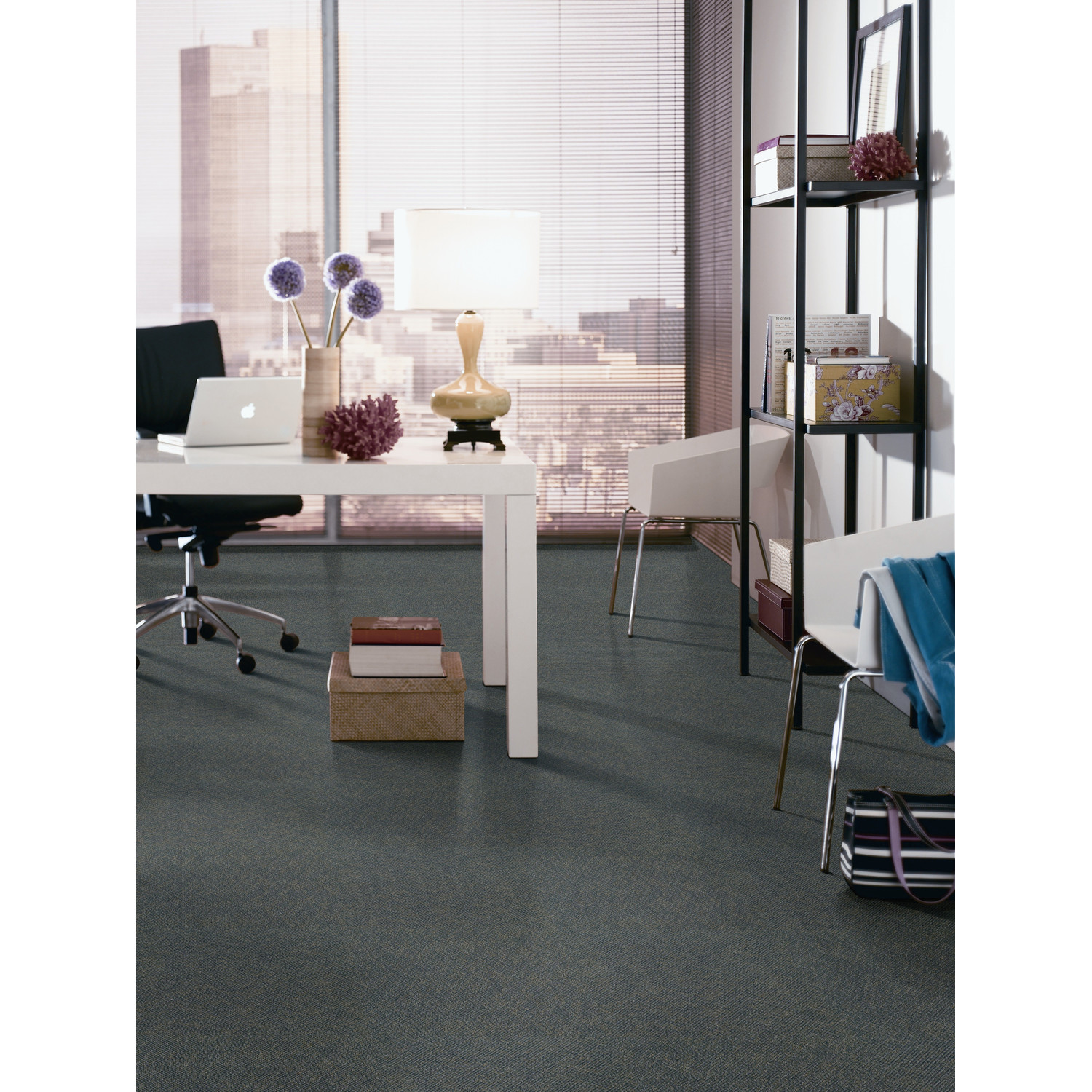 Aladdin Voltage Carpet Tile in Oceanic by Mohawk Flooring matched with white wall plus white wooden desk for home office decor ideas