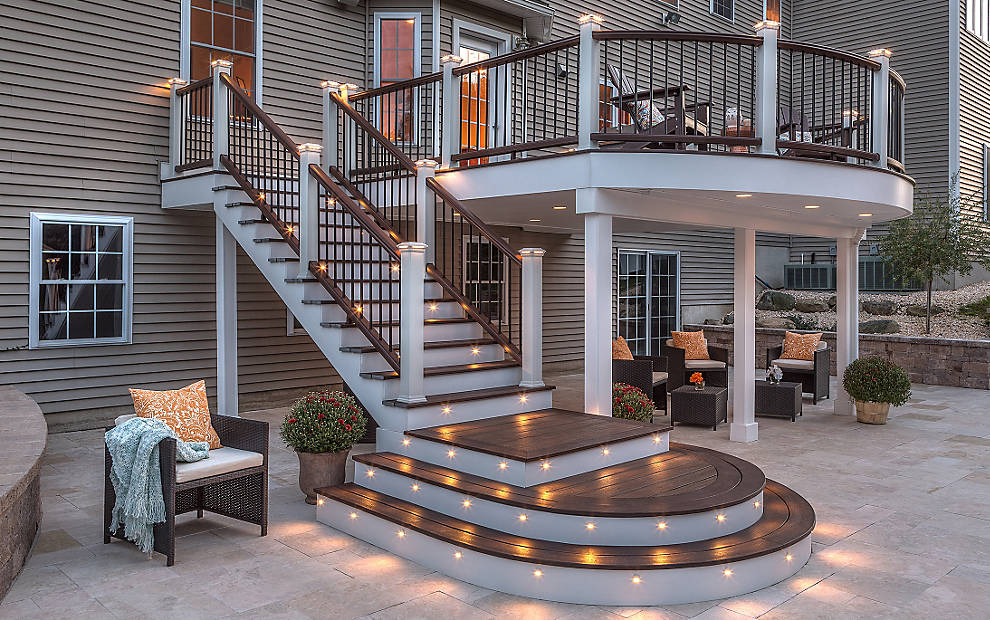 amazing decking IN SPICED RUM AND VINTAGE LANTERN WITH ELEVATIONS AND RAINESCAPE with railing in Vintage Lantern with Posts in Classic White for expensive trex decking cost ideas