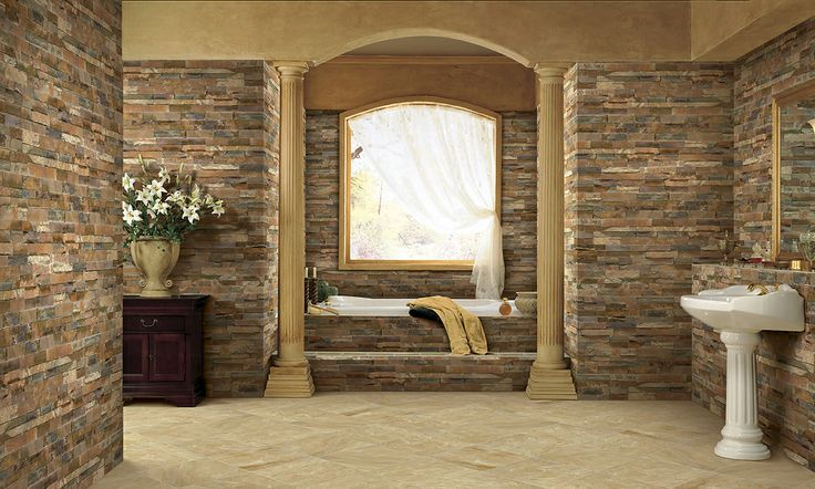 amazing interceramic tile floor matched with stone veneer wall decor plus white pedestal and bathup for bathroom decor ideas